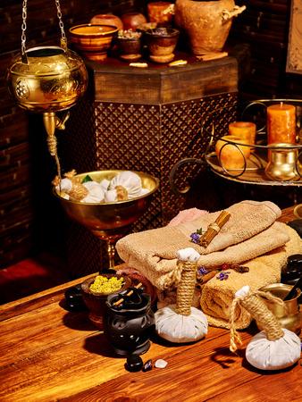 lastone: Luxury ayurvedic spa massage still life. Stock Photo