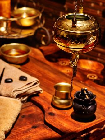 panchakarma: Luxury ayurvedic spa massage still life in interior.