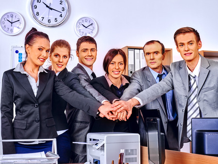 group of business people: Happy group business people with hand together in office. Stock Photo