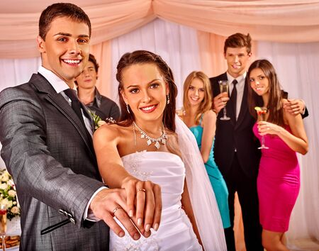 woman wedding: Happy group people at wedding dance.