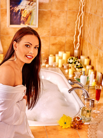 woman in bath: Woman relaxing at home luxury bath.