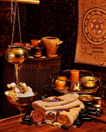 ayurvedic: Luxury ayurvedic spa massage still life. Stock Photo