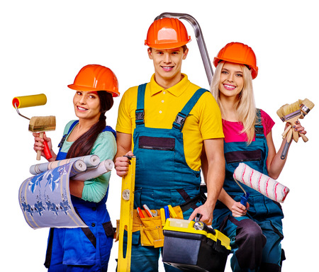 three person: Group people builder of three person  with construction tools. Isolated.