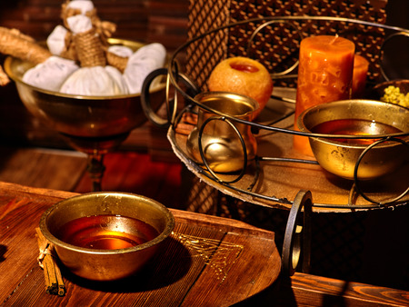 panchakarma: Luxury ayurvedic spa massage still life with candles