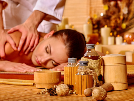 spa and resort: Woman getting  massage in spa.