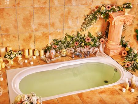 bathroom interior: Home bathroom interior with bubble bath.