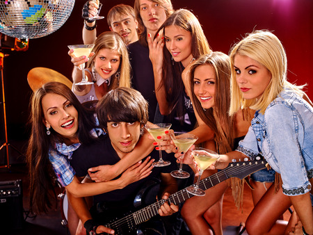 lighting effects musician: Musical group performance in night club Stock Photo