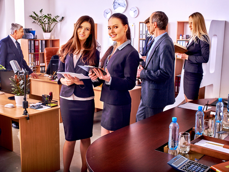 business office: Happy group business people together  in office. Stock Photo