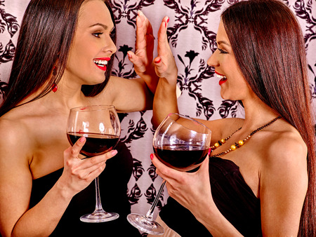 two sexy women: Two sexy women with red wine