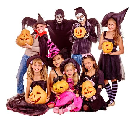 Halloween party with group children holding carving pumpkin. Isolated.