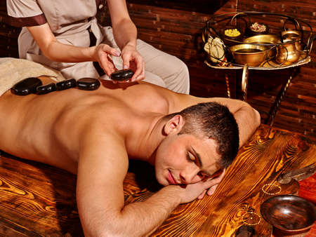spa woman: Man  having oil Ayurveda spa treatment.