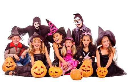 Halloween party with large group children. Isolated. Stock Photo