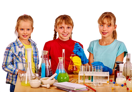 school desk: Group children holding chemistry  flask on isolated.