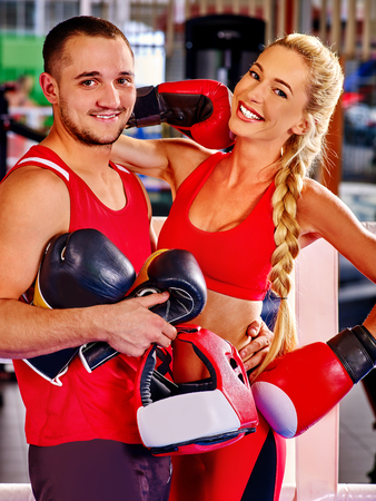 female boxer: Female boxer with your male coach after workout in gym