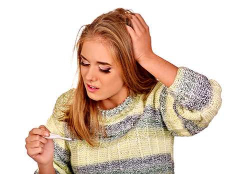 sad lady: Woman with hands on sick head. High temperature. Isolated. Stock Photo