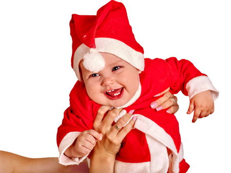 Baby Boy Clothing For Santa Hats On Mother Hands. Isolated. Stock ...