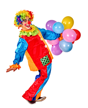 birthday clown: Happy birthday clown playing  bunch of balloons.  Isolated.