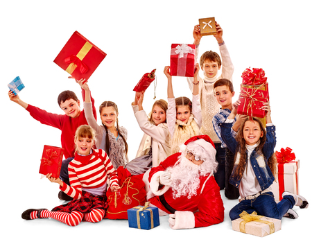 diferent: Group of children have diferent games with Santa Claus.  Isolated.