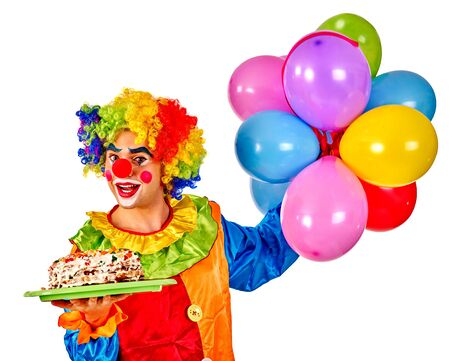 clown shoes: Happy birthday clown holding cake and  bunch of colorful balloons.  Isolated.