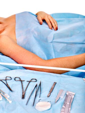 Preparation to breast cancer surgery. Medicine concept.