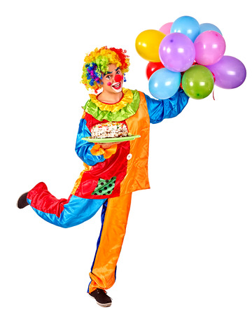 clown shoes: Happy birthday clown on one leg holding a bunch of balloons.  Isolated.