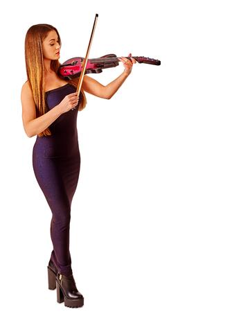 violinista: Intérpretes de música niña violinista tocando el violín. Aislado.