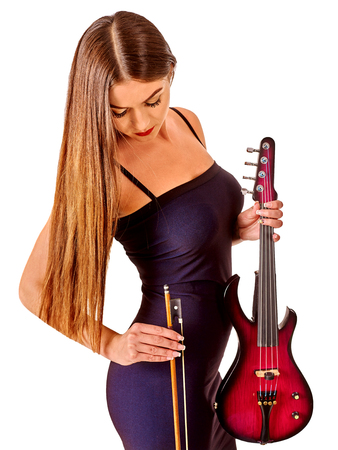 solitariness: Music performers girl violinist  in long hair long down. Isolated.