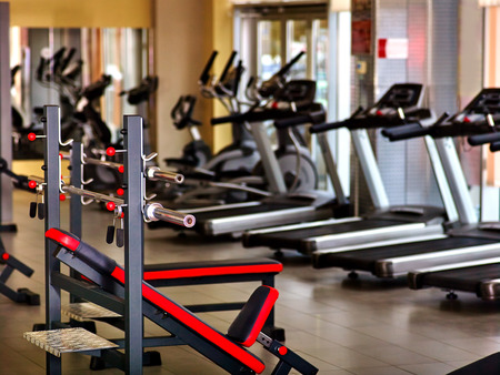 Sport gym interior with treadmill equipment. Stockfoto