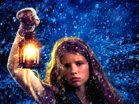 snow forest: Christmas  girl in winter snow forest with lantern.