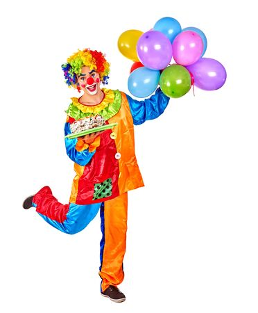 birthday clown: Happy birthday clown man holding a bunch of balloons on Isolated.