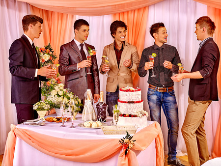 only men: Group happy men at stage party before wedding. Only male friend.