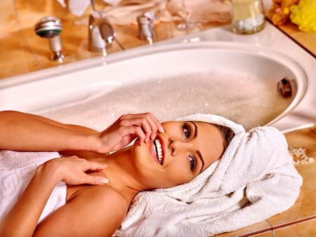 luxuriate: Woman luxuriate at home luxury bath. Stock Photo
