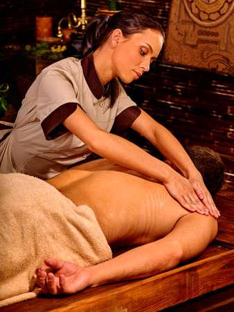 luxuriate: Man  luxuriate  at oil Ayurveda spa treatment.