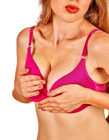 breast milk: Girl in underwear examines her breasts. Healthy concept. Stock Photo