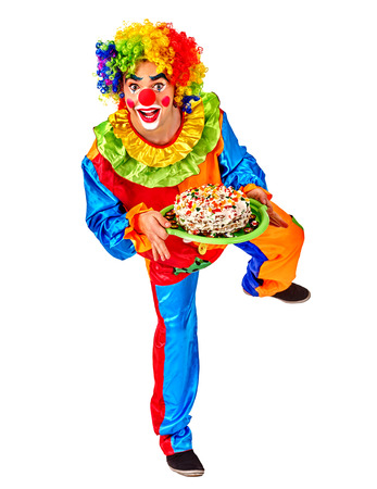 birthday clown: Portrait of happy birthday clown holding bunch of colour balloons.  Isolated.