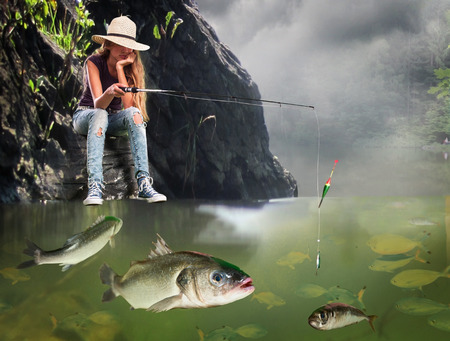 fisherwoman: Girl fishing early morning with lot of big fishes.