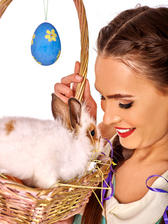 animal beautiful: Portrait woman with easter rabbit in basket  decorate eggs. Isolated.