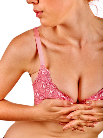 big breast woman: Portrait of a unrecognizable girl with beautiful breasts . Stock Photo