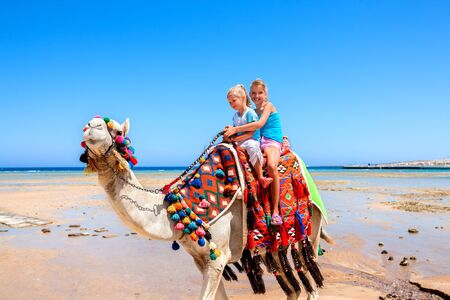 sun beach: Tourists two sisters children riding camel  on beach of  Egypt on blue sky background. Stock Photo