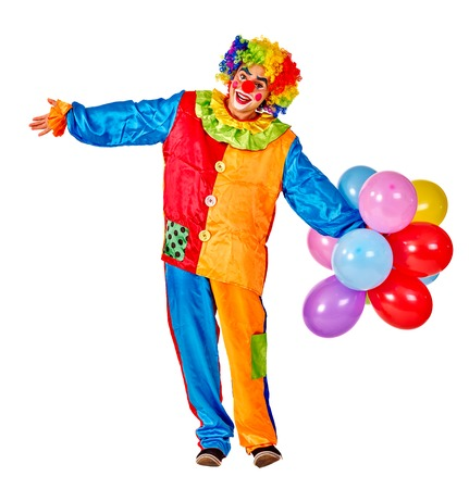keeps: Happy birthday clown man keeps  bunch of balloons.  Isolated.