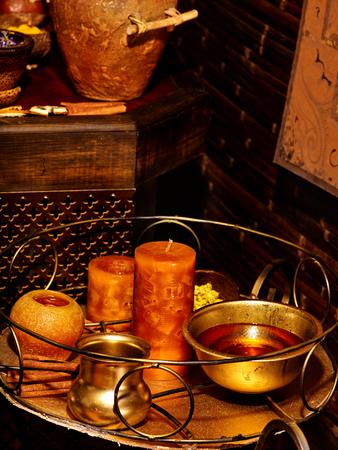 ayurvedic: Luxury ayurvedic spa massage interior. Massage accessories. Stock Photo