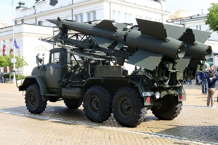 Sofia, Bulgaria - May 06: Day of Valor. Surface-to-air missile system c125 on military hardware parade. Back view. S 125. On May 06, 2016 in Sofia Bulgaria.