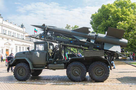 valor: Sofia, Bulgaria - May 06: Day of Valor. Surface-to-air missile system c125 on military hardware parade. S125. Side view.On May 06, 2016 in Sofia Bulgaria. Editorial