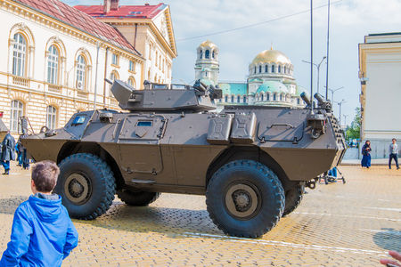 commando: Sofia, Bulgaria - May 06: Day of Valor. Four-wheeled armored vehicles commando select on military hardware parade. Back view. On May 06, 2016 in Sofia Bulgaria.