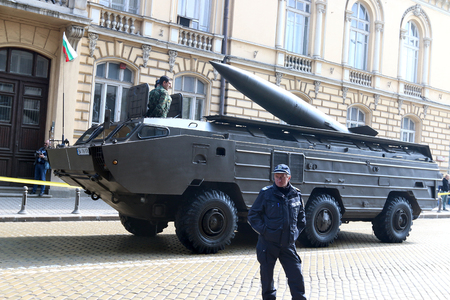 operational: Sofia, Bulgaria - May 06: Day of Valor. Tactical operational missile complex point on military hardware parade. On May 06, 2016 in Sofia Bulgaria.