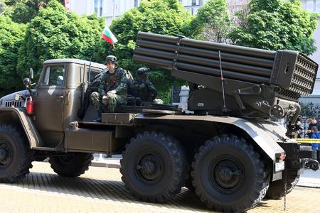 grad: Sofia, Bulgaria - May 06: Day of Valor. Multiple Rocket Launcher System BM-21 Grad on military hardware parade. On May 06, 2016 in Sofia Bulgaria.