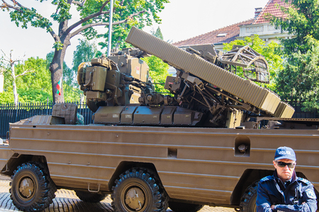 Sofia, Bulgaria - May 06: Day of Valor. Surface-to-air missile system 9K33 Osa AK on military hardware parade. On May 06, 2016 in Sofia Bulgaria.???????-??????? ????????? ??? ??