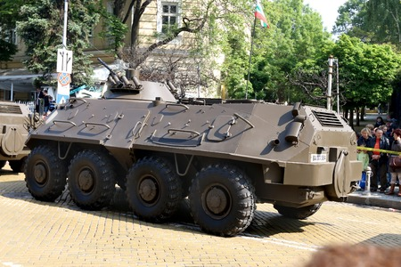 pb: Sofia, Bulgaria - May 06: Day of Valor. Armoured personnel carriers BTR-60 PB MD1on military hardware parade. Back view. On May 06, 2016 in Sofia Bulgaria.