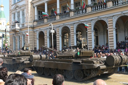 tracked: Sofia, Bulgaria - May 06: Day of Valor. Armored vehicles tracked tanks T72 on military hardware parade. Back view. On May 06, 2016 in Sofia Bulgaria.