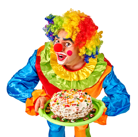 wig: Happy birthday wig funny clown keeps cake.  Isolated.